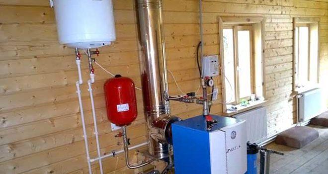 Установка котла отопления в частном доме и установка трубы к нему